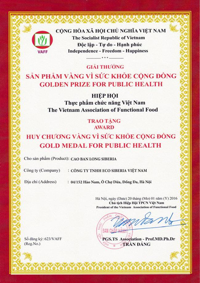 Giải thưởng sản phẩm CBL Siberia do hiệp hội thực phẩm chức năng Việt Nam trao tặng