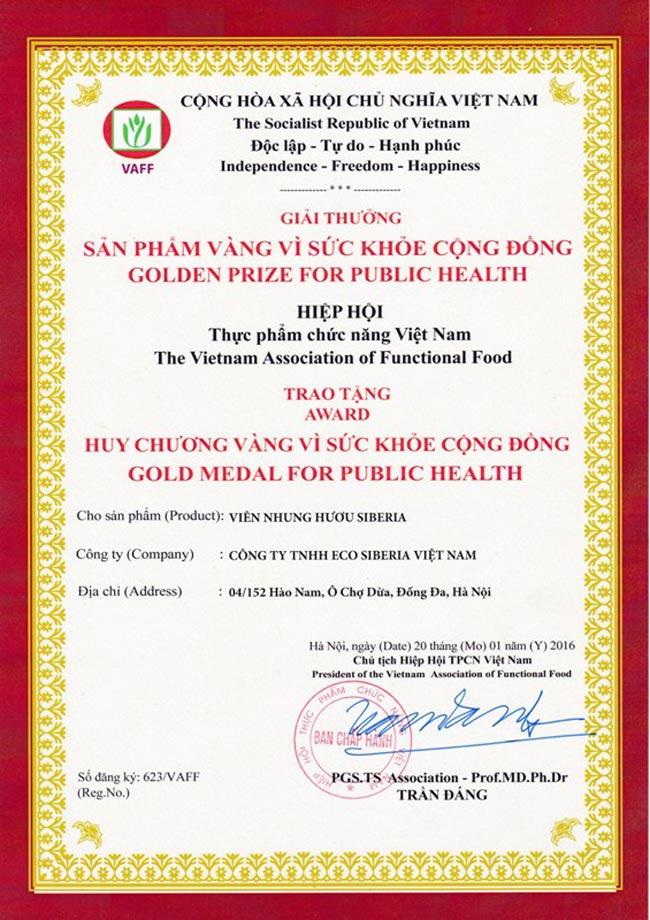 Giải thưởng sản phẩm NH Siberia do hiệp hội TPCN Việt Nam trao tặng