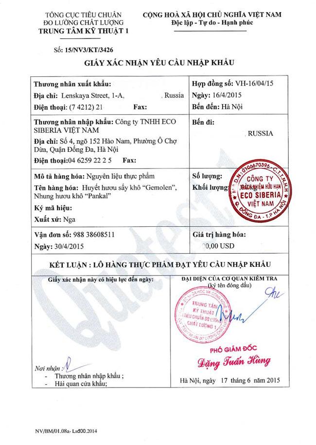 Xác nhận đạt yêu cầu nhập khẩu nguyên liệu NH khô của tổng cục tiêu chuẩn đo lường chất lượng